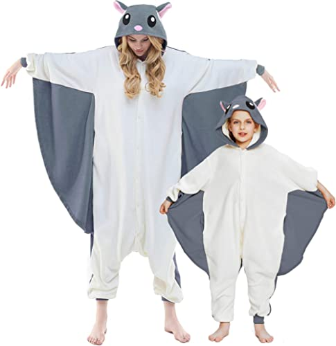 NEWCOSPLAY Unisex Adult Kid Flying Squirrel Pajamas- Plush One Piece Costume Family
