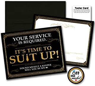 Suit Up Black Gold Groomsman Best Man Cards 6 Pack | Groomsmen Gifts | Wedding Proposal Funny