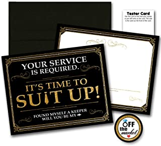 Suit Up will you be my Groomsman Cards with Black Envelopes 6 pack | Best Man, Groomsmen, Wedding Party Proposal, Black and Gold Postcard Style, Premium Card stock