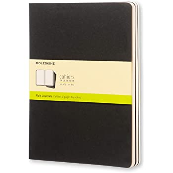 """Moleskine Cahier Journal, Soft Cover, XL (7.5"""" x 9.5"""") Plain/Blank, Black, 120 Pages (Set of 3)"""