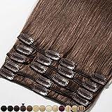 8'-24' Extension a Clip Cheveux Naturel Rajout Vrai Cheveux Humain Remy - Volume Moyen 8 Pcs (#04 Châtain, 20cm-65g)