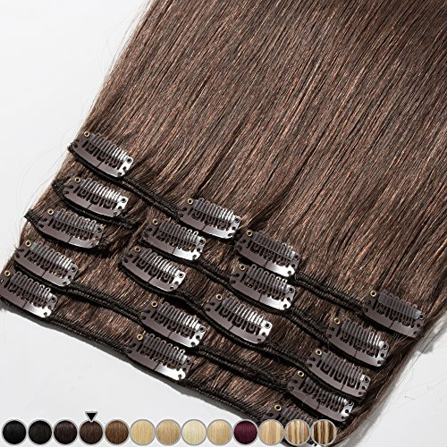 Rich Choices Extension Clip Capelli Veri 8 Pezzi Full Head 100% Remy Human Hair Extensions Lunga 20cm Pesa 65g, 4 Cioccolato