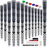 SAPLIZE Multi Compound Golf Grips, 13 Piece with Complete Regripping Kit, Standard Size, Hybrid Golf Club Grips, Gray CL03S Series