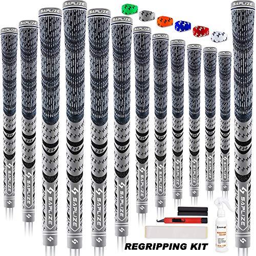 SAPLIZE Puños de Golf de 13 Piezas con Kit de regripping Completo, tamaño estándar, cordón de Goma, puños de Club de Golf híbridos, Gris