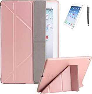 iPad 9.7 2018/2017 (6th, 5th) Generation Premium Smooth Ultra Origami Slim Lightweight/Soft Stand Protective Folding Case with Auto Wake/Sleep Feature with Bonus Screen Protector and Stylus(Rosegold)
