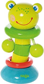 HABA Clutching Toy Clatter Frog Wooden Rattling Figure (Made in Germany)