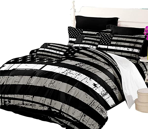 Oliven American Flag Quilt Cover Queen Size Valor Patriot Theme Digital Duvet Cover 3 Piece Beeding Set Black White Gray