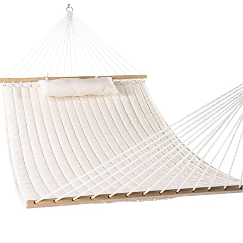 Lazy Daze Hammocks Double Quilted Fabric Swing With Pillow, 55u0027u0027, Natural