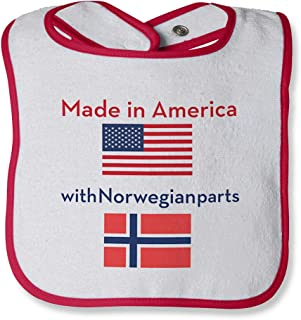 Made In With Norwegian Parts Cotton Baby Terry Bib Contrast Trim, One Size