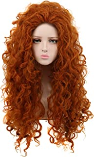 Yuehong Long Curly Orange Wig Cosplay Red Wig for Halloween Princess Costume