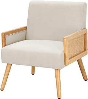 MELLCOM Mid Century Modern Accent Chair, Upholstered Chairs with Bamboo Knitting and Solid Wood Legs, Comfy Linen Fabric A...