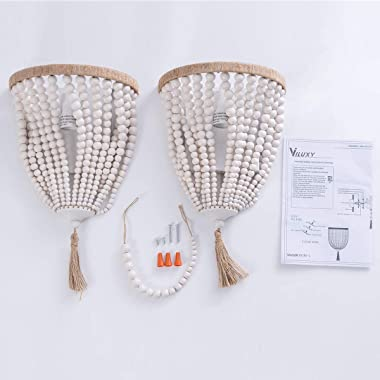 VILUXY Bohemia Wood Beaded Wall Sconces Bedside Antique Rustic Wall Sconce Lighting Fixture White Finishing for Bedroom, Hall