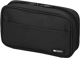 LIHIT LAB Pen Case, 7.9 x 2 x 4.7 inches, Jet Black (A7551-124)