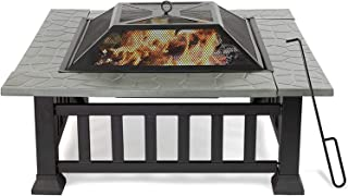 """Outdoor Fire Tables 32"""" Outdoor Square Fire Pits, Patio 4 in 1 Fire Pits for Heating, Grilling and Cooling Drinks & Food, ..."""