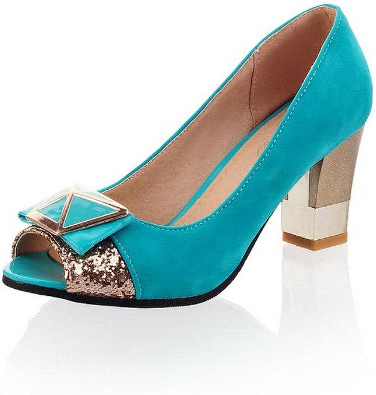 AmoonyFashion Women's Solid Imitated Suede High-Heels Peep Toe Pull-on Heeled-Sandals