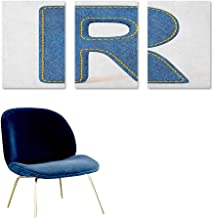 Agoza Letter R Graffiti Canvas Painting Retro Denim Style Alphabet Font Pattern with Capital R Letter Blue Jean Design A for Your Relatives and Friends 3 Panels 24x47inch Blue Yellow