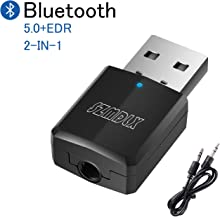 SZMDLX USB Bluetooth 5.0+EDR Adapter, Mini Bluetooth Transmitter Receiver, Hi-fi Wireless Audio Adapter Dongle with 3.5mm AUX for PC TV Headphones Car Home Stereo, USB Power Supply, No Driver Required