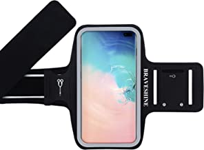 BRAVESHINE Running Armband for Men Women Gym Sport Workout - Water Resistant Phone Holder Arm Band for Samsung Galaxy S10+ S10E S10 S9/S8 Plus S9/S8/S7/S6 Edge Note 9 J7 Star Screen Up to 6.2 Inch