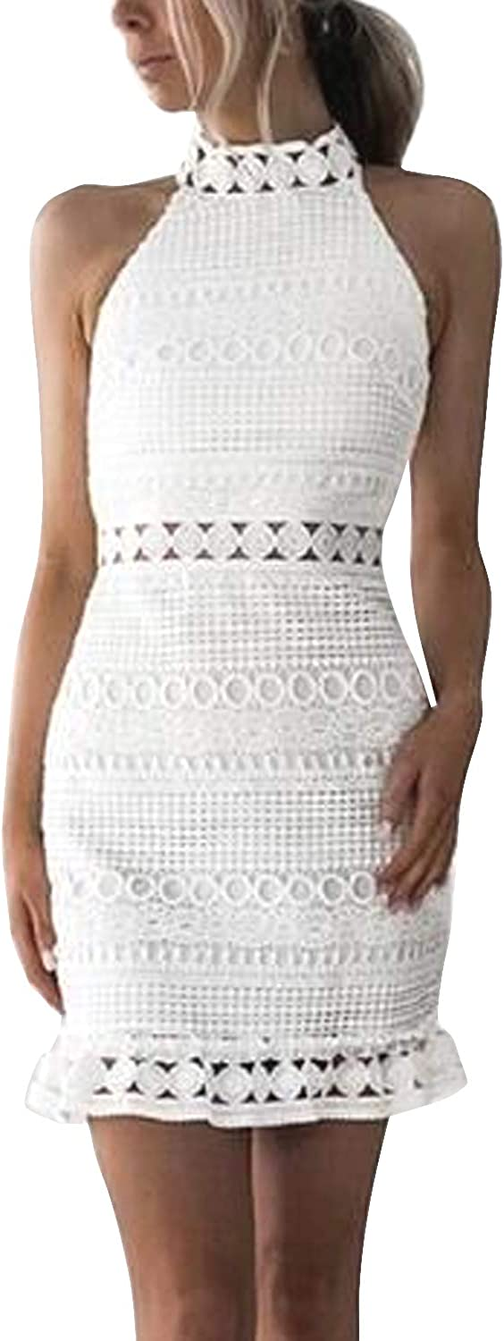 Inshine Women Sleeveless White Lace Crochet Hollow Out Club Party Cocktail Bodycon Mini Dresses