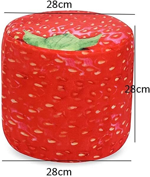 Carl Artbay Wooden Footstool Red Strawberry Style Low Stool Linen Cloth Living Room Baby Stool Home
