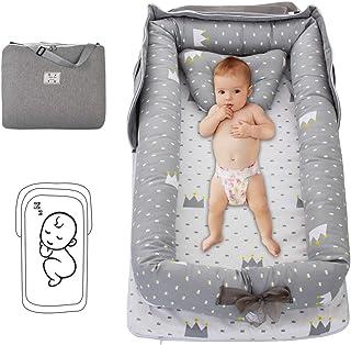 oenbopo 新生児 ベッドインベッド ベビーベッド トラベルコット ベビー 添い寝 ベビーデッキチェア 寝返り防止 折りたたみ式 持ち運び可能 屋外 旅行 幼児用ベッド お出かけ 出産祝い 0-2歳 (クラウン)グレー