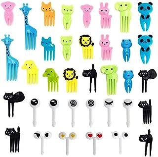 SAKOLLA 36 Pieces Food Picks for Kids, Mini Cartoon Animal Toothpick for Bento Lunch Decorations, Fruit, Cocktail Picks, Sandwich