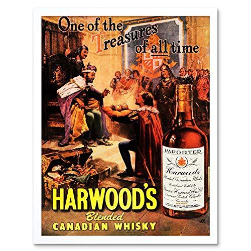 Wee Blue Coo Advert Drink Alcohol Canadese Whisky Harwood Treasure King Court Art Print Ingelijste Poster Muurdecoratie 12X16 Inch