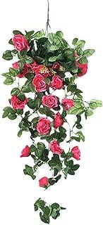 CCatyam Artificial Hanging Flowers, Lifelike Fake Plants Wisteria Bouquet, Basket Wall Decor Party Home Garden Wedding