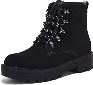 Beotyshow Lace up Boots for Women Round Toe Military Knit Ankle Cuff Low Heel Combat Boots