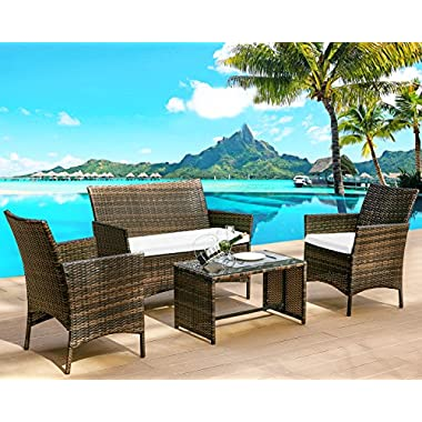Leisure Zone 4 PC Rattan Patio Furniture Set Wicker Conversation Set Garden Lawn Outdoor Sofa Set with Cushioned Seat and Tempered Glass Table Top (Cushion Beige)