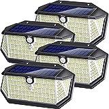 Luce Solare LED Esterno con Riflettore Luci, 266 LED Lampada Solare con Sensore di Movimento,IP65 Impermeabile,270°Angolo Illuminazione,3 Modalità Lampada Solare da Esterno per Giardino (4 Pcs)