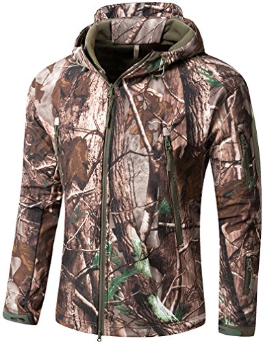 CAMO COLL Men's Outdoor Soft Shell Hooded Tactical Jacket (L, Tree)