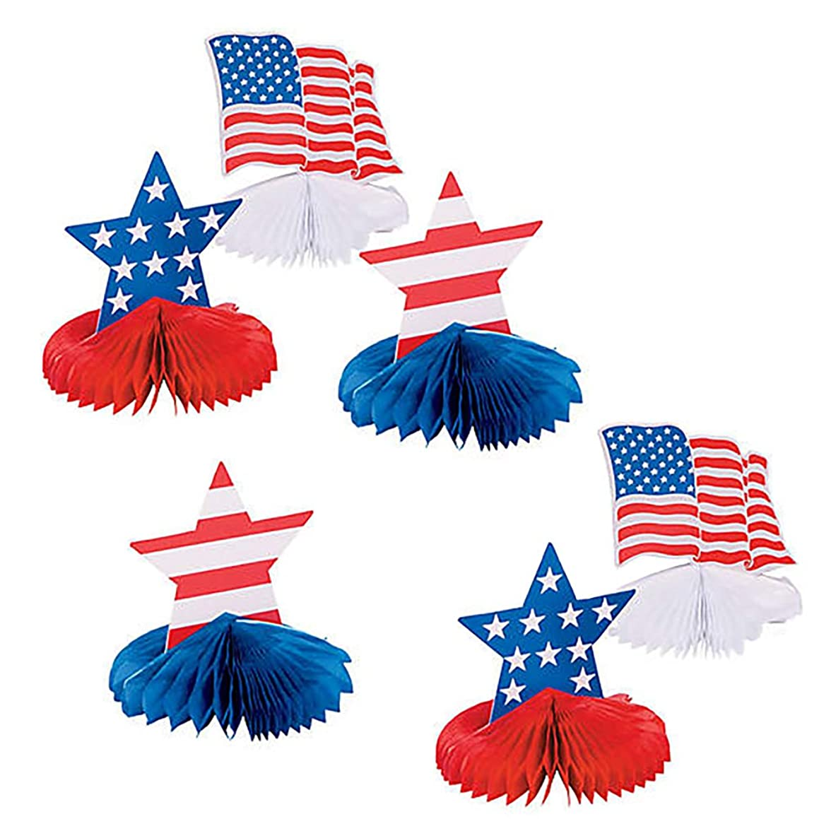 July Fourth American Flag Honeycomb Centerpieces Patriotic (6 Piece Set)