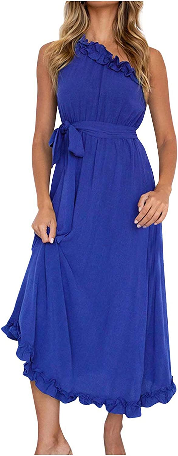 Lovor Womens One Shoulders Ruffle Sleeveless Maxi Dress Pure Color Sexy Cocktail Beach High Waist Long Dress with Belt