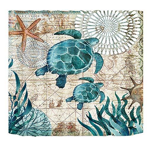 Yisily 1pc Strand Duschvorhang Teal Meeresschildkröte Küsten Thema Duschvorhänge Blue Ocean Seetiere Bad Gardinen Rustic Polyester Wasserdicht 180x180cm