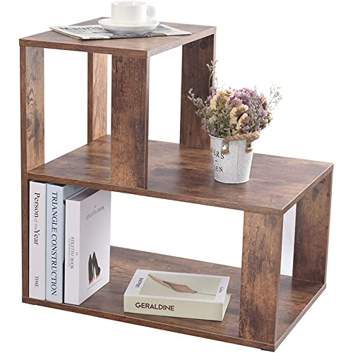 Iwell Large Nightstand 3 Tier End Table 23 8 H Sofa Side Table With Storage Shelf For Living Room Bedroom Easy Assembly Rustic Brown Bzx007f Kitchen Dining