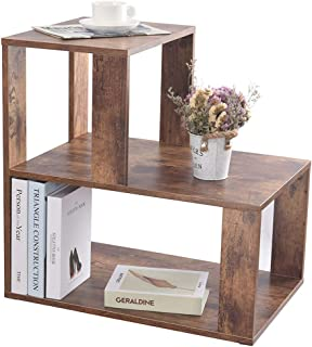 IWELL Rustic Large End Table, Wooden 3-Tier Sofa Side Table with Storage Shelf for Living Room, Ladder Nightstand for Bedroom, Easy Assembly Rustic Brown BZX007F