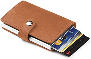 TERSELY Credit Card Holder RFID Blocking Wallet Slim Wallet PU Leather Vintage Aluminum Business Card Holder Automatic Side Slide Trigger Card Case Wallet Security Travel Wallet (Brown)