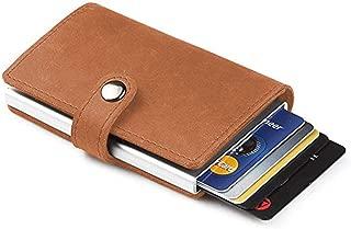 TERSELY Credit Card Holder RFID Blocking Wallet Slim Wallet PU Leather Vintage Aluminum Business Card Holder Automatic Side Slide Trigger Card Case Wallet Security Travel Wallet (Brown)