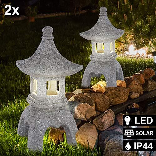 2er Set LED Solar Außen Steh Lampen Garten Asia Leuchten Pagode Statue Terrassen Strahler