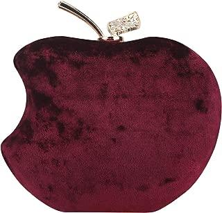 Rhinestones Velvet Clutch Apple Shape Evening Bags For Women Formal