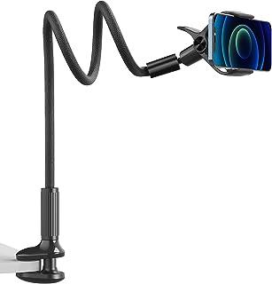 Gooseneck Phone Mount Holder - SAIJI Flexible Long Arm 360 Adjustable Ball Head for Bed, Lazy Bracket Clamp Desk Stand, Co...