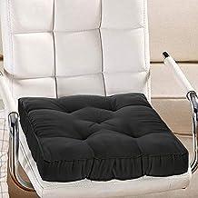 وسادة كرسي مزخرفة من القماش القطني من كوبر اندستريز/ دعم خلفي/ وسادة مقعد وخياطة يدوية الصنع، 14انش × 14انش (اسود)