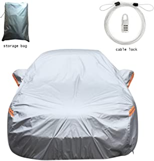 Superb Car Cover Set Polyester Water/Sun Proof fits sedan's up to 200 inches Long,-Anti Theft Protection-Windbreak Belts-Left Door Zipper-Reflector-Mirror Pockets-Storage Bag.
