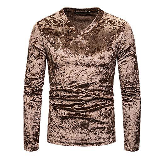 Nobrand Herren-T-Shirt, V-Ausschnitt, mehrfarbig, langärmelig Gr. S, braun