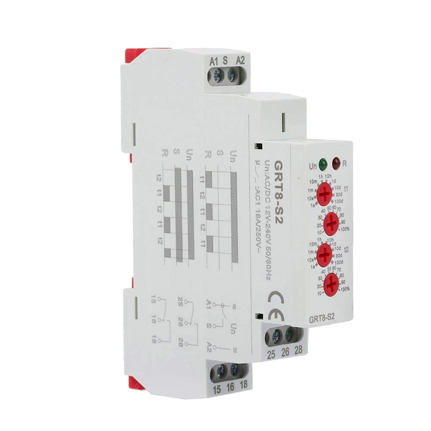 GRT8-S2 IP20 AC Dealing full price reduction DC 12-240V Mini wit Timer Translated Cycle Asymmetric Relay