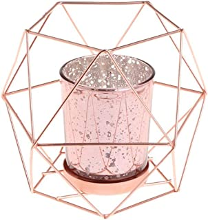 Fancy Girls candel hoders Nordic Style 3D Geometric Candlestick Metal Candle Holder Wedding Home Decor Hot,Rose Gold