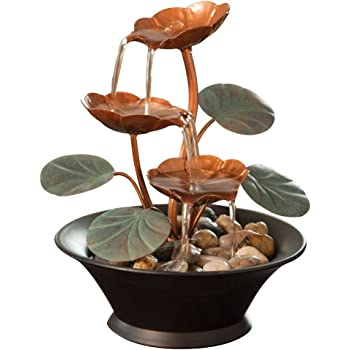 Amazon Com Bits And Pieces Indoor Water Lily Water Fountain Small Size Makes This A Perfect Tabletop Decoration Compact And Lightweight Home Kitchen