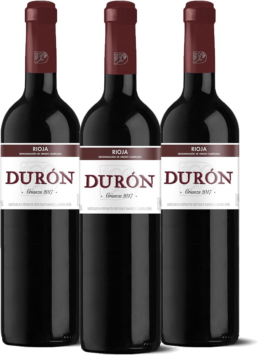 Durón – Vino Tinto Crianza 2017 Denominación de Origen Calificada Rioja, Variedad Tempranillo, 12 meses en barrica – Caja de 3 botellas x 750 ml – Total: 2250 ml