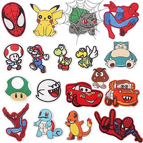 CYWQ - 18 parches para planchar con dibujos animados de Mario, Spiderman - Parches bordados para coser en ropa, chaquetas, mochilas zapatos, gorras para niños y adultos